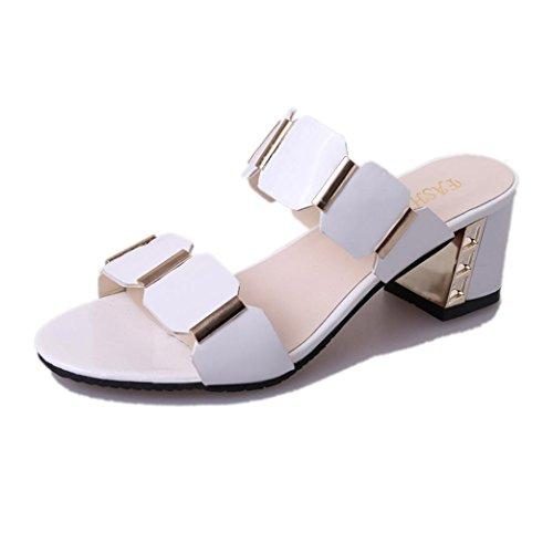 41 estive in Solido Tacco Toe Donna Artificiale Size Bianco Piazza Colore Longra Scarpe Moda Antiscivolo Sandali Pelle Peep wqa1A6S