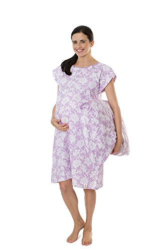 Gownies - Designer Hospital Gown Labor Kit (Large/X Large prepregnancy 10-18, Helen Gownie with Matching Pillowcase)