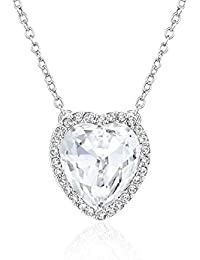 Heart Pendant Necklace with White Crystal Jewelry for Women and Girl