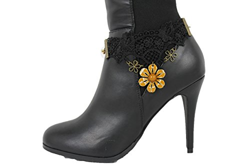 TFJ Women Western Boot Chain Bling Bracelet Gold Metal Flower Bling Shoe Charm Black Lace (Halloween Costumes For Skinny Guys)