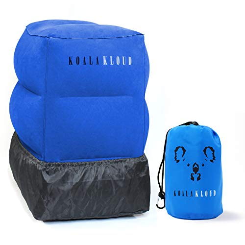 Koala Kloud Blue Airplane Footrest - Adjustable Footrests Accessory | Kid Traveling Bundle | Children Home Elevate Knee Gadgets | Comfortable Foldable Flying Tote