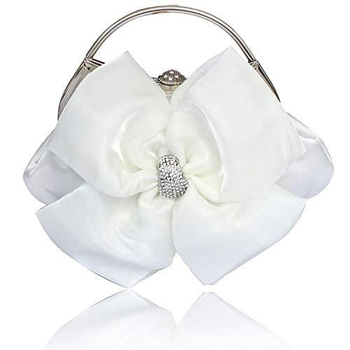 Wedding De Satin main Black Women's Main Bags Bags Sacs Bowknot Tout sac Capacité Evening À Fourre blanc Bag White QZTG à Grande wUqxPFE