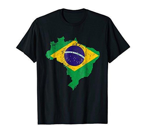 Brazil Flag tshirt distressed vintage