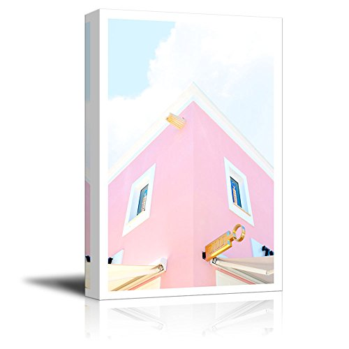 wall26 Canvas Wall Art - Fresh Pink Color Tone Modern Building Drawing - Giclee Print Gallery Wrap Modern Home Decor Ready to Hang - 12