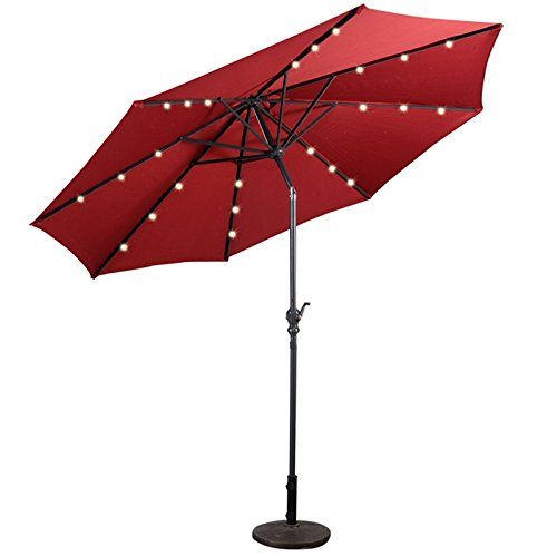 New Burgundy 10FT Patio Solar Umbrella LED Patio Market Steel Tilt W/ Crank Outdoor - How For To Face Sunglasses Size