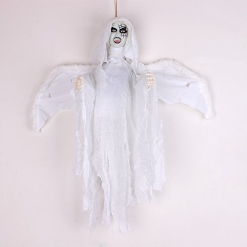 Halloween Decoration Hanging Witch Ghost With Light Up LED Red Eyes & Horrible Voice & Flap Wings Touch & Sound Control Electric Props (Animated Flying Witch)