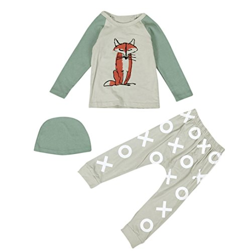 Efaster Newborn Infant Cotton Clothing Baby Boy Girl Fox Printing Tops Pant Hat