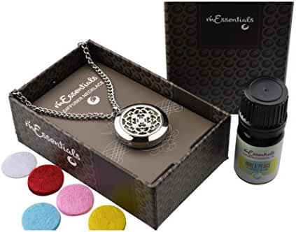 Cross Essential Oil Diffuser Necklace Stainless Steel Locket Pendant with 24