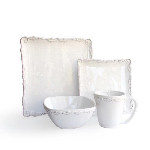 Christmas Tablescape Décor - Bianca Wave square white dolomite 16-piece dinnerware set by American Atelier Bianca
