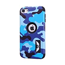 iPod Touch 6 Case,Lantier Cool Solider Camouflage Series 3 in 1 Plastic Hard PC+ Soft Silicone Hybrid High Impact Defender Case Covers Scratchproof Dustproof Shockproof Purple Navy Blue