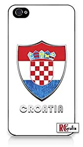 Premium Croatia Flag Badge Direct UV Printed iphone 5 5s Quality TPU SOFT RUBBER Snap On Case for iphone 5 5s T Sprint Verizon - White Case