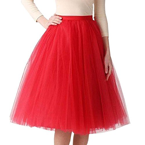 NUWFOR Womens Tutu Costume Adult Party Dance Tulle Skirt Short Fluffy Petticoat(Red,One Size)