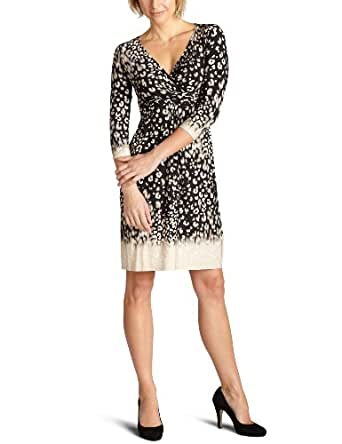 donna morgan Women's 3/4 Sleeve Leopard Print Matte Jersey Dress,Black,2