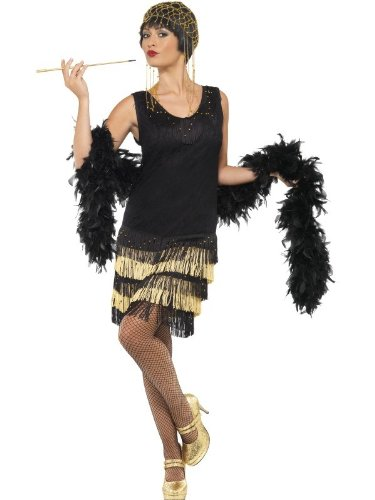 [1920's Fringed Flapper Costume - Large - Dress Size 14-16] (Flappers 1920)