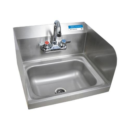 BK Resources BKHS-W-1410-SS-P-G Stainless Steel Wall Mount Hand Sink w/ Dual Splash Guards & 3-1/2