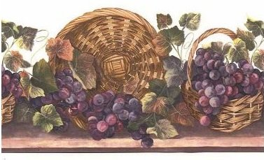 Wallpaper Grape Border (Wine Grapes in a Basket Wallpaper Border - White BV021103B…)