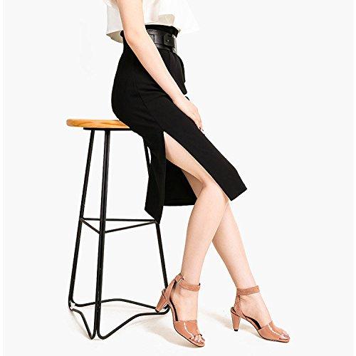 en Fashion pour Toe Femmes Cuir Joker Brown Sandales Open Robes pour Boucle DKFJKI Femmes vwU5STq6xt
