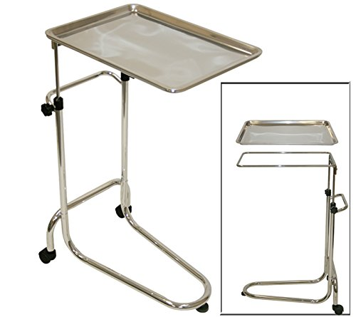 LCL Beauty Extra Large Stainless Steel Double-Post Mayo Instrument Stand & Work Tray