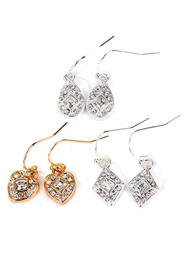 Basketweave Drop Earrings (Neoglory Jewelry Silver Color & Gold Plated`Pave Crystal FH Three Drop Earrings Sets for Sensitive Ears)