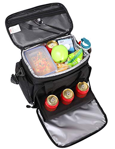 MIER Adult Insulated Lunch Bag Tote Leakproof Soft Cooler Bag with 3 Cup Holders for Travel, Picnic, Office, Camping, Car, Kayak, Beach, Sports, 18Can (Black)
