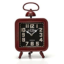 10.8x6.2 Handcrafted Metal Square Analog Quartz Desk Clock for Hanging or Tabletop Display,Glass on Front (Red)