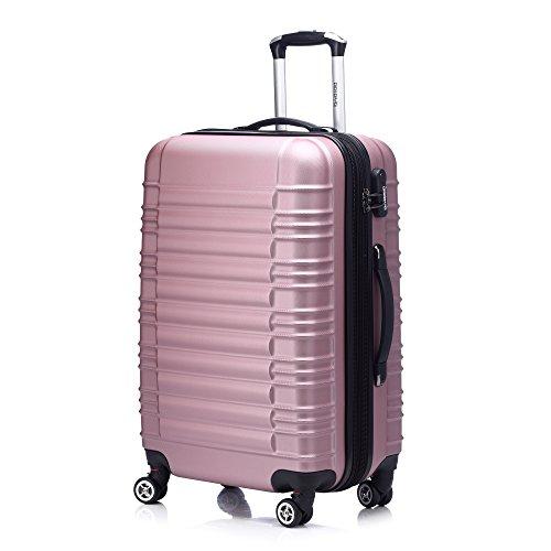 Zwillingsrollen 2088 Reisekoffer Koffer Trolleys Hartschale in XL-L-M in 14 Farben(Pink,XL)
