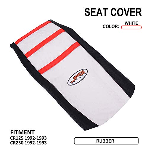 (Motorcycle Gripper Seat Cover Rubber Soft Skin Covers For Honda CR125 92-93 CR250 1992-1993 Dirt Pit Bike Off Road - White Color)
