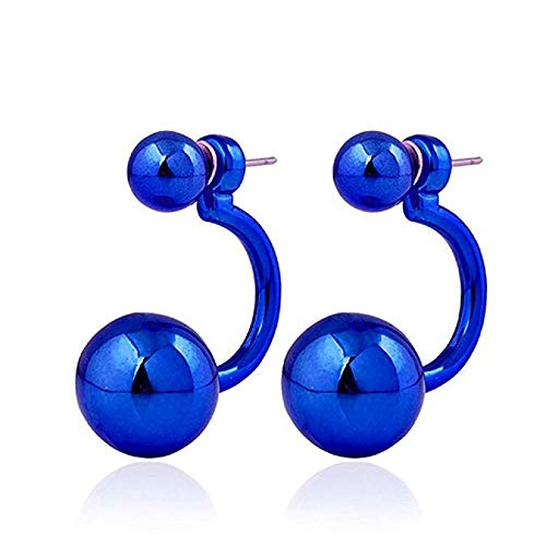 FAVOT 2019 Girl Earrings Hip Hop Gothic Creative Headphones Shape Beads Stud Earrings (Blue) (Best Headphones For Hip Hop 2019)
