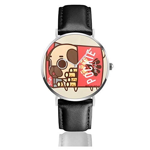 Dfsdfkj Puglie Pug Pockie Leather Watch 1.5 Inch,Imported Quartz Movement, Silver Stainless Steel Case,Durable and Scratch-Resistant Mineral Crystal Dial Window ()