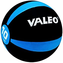 Valeo 10-Pound Medicine Ball With Sturdy Rubber Construction And Textured Finish, Weight Ball Includes Exercise Wall Chart For Strength Training, Plyometric Training, Balance Training And Muscle Build