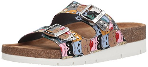 (Skechers BOBS Women's Scratch Party Double Strap Sanal Slide Sandal, Multi, 11 M US)