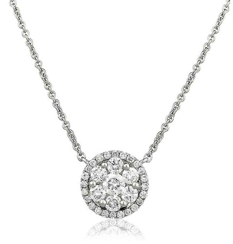 0.60CT Certified G/VS2 Cluster with Halo Diamond Pendant in 18K White Gold