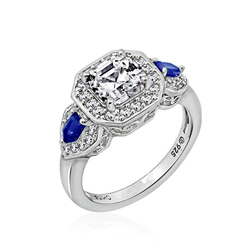 J'ADMIRE 2 Carats Swarovski Zirconia Antique Asscher-Cut and Created Sapphire Ring Size 9, Platinum-Plated Sterling Silver