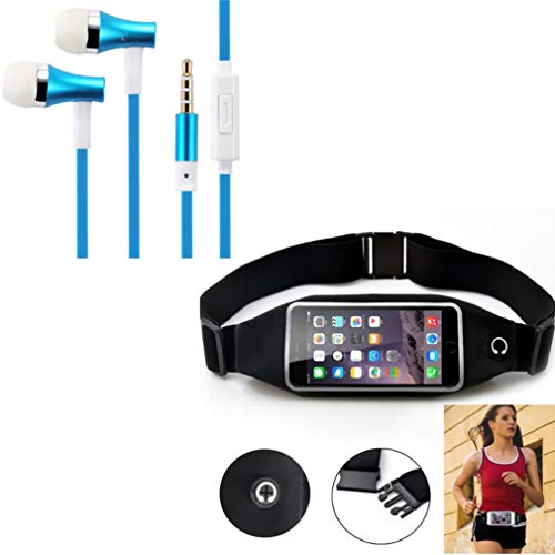 Black Sports Running Workout Waist Bag Belt Case w Blue Earbuds Handsfree Earphones Mic M9Y Compatible with Huawei P30, Mate SE S, P8 Lite, Ascend P8 P7, Vision 3 LTE, Google Nexus 6P, Mate 7