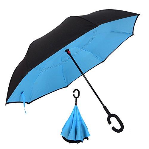 Ciamlir Double Layer Inverted Umbrella with C H...
