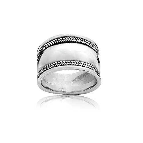 Bali Band Ring (Sterling Silver Polished Bali Rope Wide Statement Ring, Size 6)
