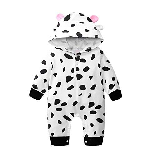 Outtop(TM) Toddler Infant Newborn Baby Boys Girls Cow Print Romper Jumpsuit Hooded Outfits Clothes (6M(0~6months), Black) -