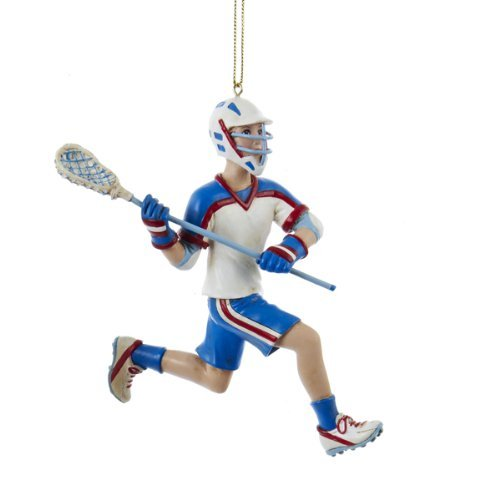 Kurt Adler 5-Inch Lacrosse Boy in Blue Uniform Christmas Ornament (Ornament Lacrosse Player Christmas)