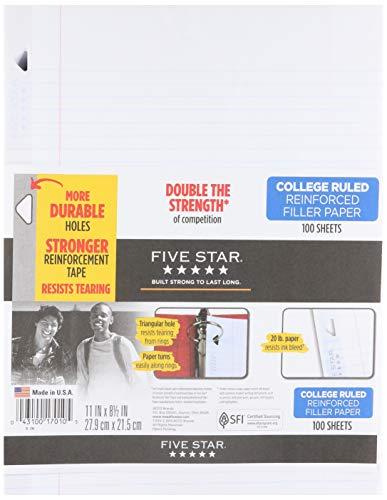 Five Star Filler Paper, College Ruled, Reinforced, Loose Leaf Paper, 11 x 8.5