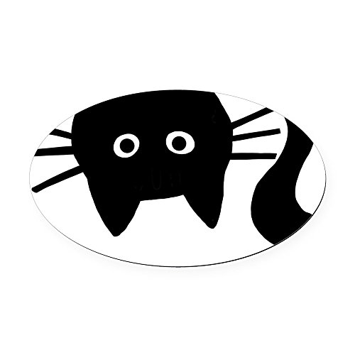 CafePress - Black Cat Upside Down Oval Car Magnet - Oval Car Magnet, Euro Oval Magnetic Bumper Sticker
