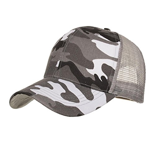 1481f9cada8 Botrong Camouflage Summer Cap Mesh Hats for Men Women Casual Hats Hip Hop Baseball  Caps (Gray)