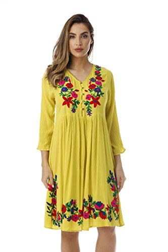 Riviera Sun Embroidered Dress with 3/4 Sleeve 21826-LIM-S - Floral Empire Dress