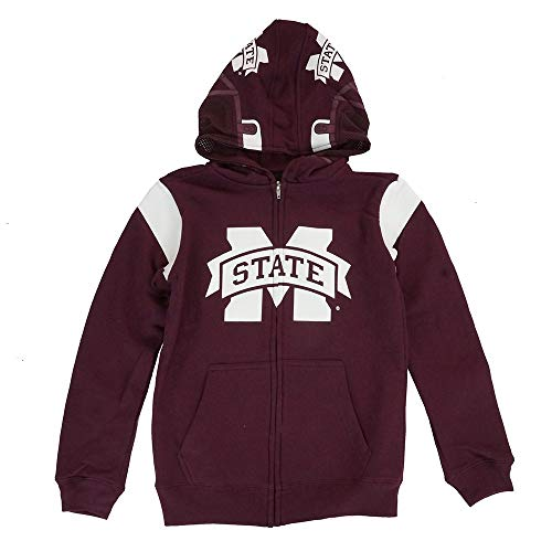 Outerstuff Mississippi State Bulldogs NCAA Maroon Helmet Full Zip Hoodie Jacket Youth