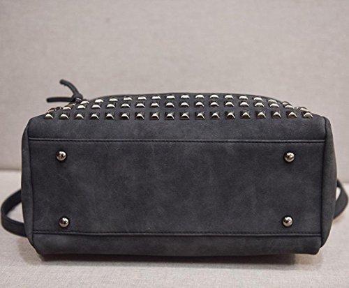 Rakkiss Bag Satchel Tote Women Shoulder Capacity Black Large Travel Handbag Large Rivet Leather Bag Messenger XXwxr