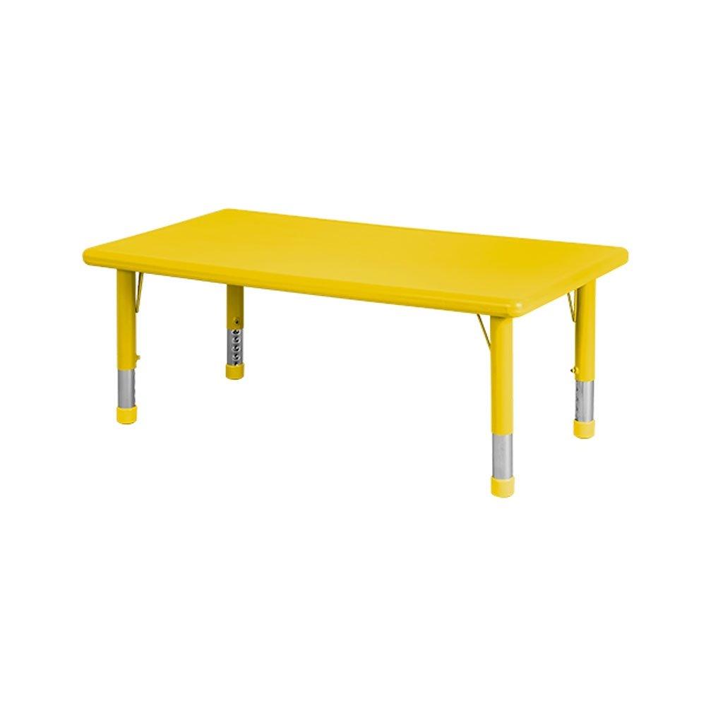 ECR4Kids 24 x 48'' Rectangular Resin Adjustable Activity Table, Canary Yellow