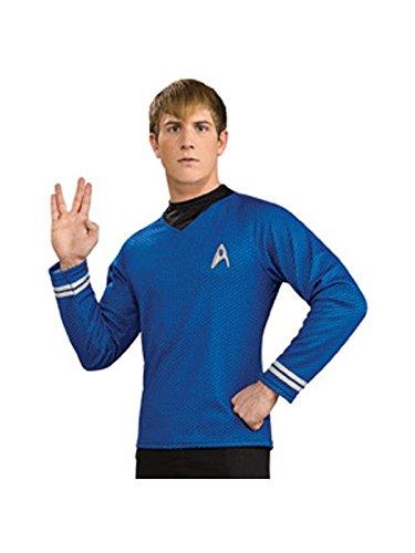 Deluxe Dr Spock Shirt Mens Fancy Dress Star Trek Blue Uniform Adults Costume New ()