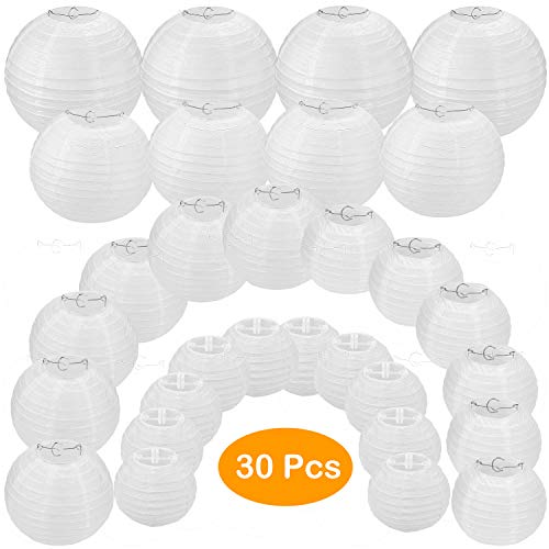 """30 Pack White Paper Lanterns 4"""" 6"""" 8"""" 10"""" 12"""" Assorted Sizes, CBTONE White Hanging Round Lanterns for Birthday Wedding Baby Shower Festival Christmas Party Decoration - Great for Indoor or Outdoor"""