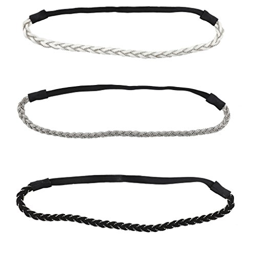 Lux Accessories Multi Color Suede Braid and Chain Stretch Head Wrap Pack (3PCS)