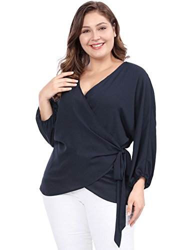 uxcell Women's Plus Size Tie-Belt V-Neck Wrap Chiffon Top 3X Blue
