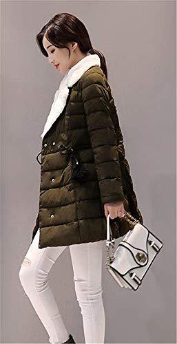 Termica Abrigos Solapa Invierno Elegantes De Chaqueta Retro Moda Fit Outwear Slim Grün Cruzadas Con Manga Larga Mujer Correas Acolchada Espesar Casuales aC4qBnw